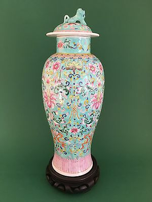Beautiful Antique Chinese Famille Rose Baluster Vase 19Th Century