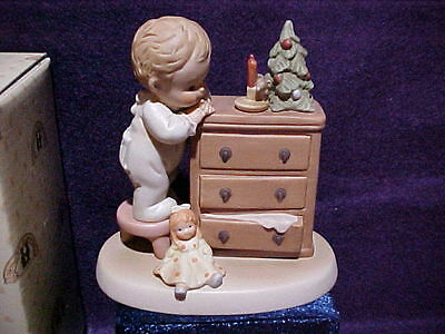 """Memories Of Yesterday Figurine """" Not a Creature Was Stirren"""" Enesco Girl w Mouse"""