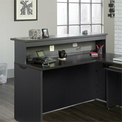 Sauder Via Reception Desk in Bourbon Oak