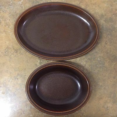 """Lot Of 2 Retro Wedgwood England Sterling Stoneware Brown Platter13 3/8""""And 9"""""""