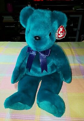 "TY 15"" TEDDY Old Face Beanie Buddy Green navy Bow with Tag"