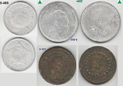 Viet Nam set of 3 coins 5 hao 1 dong 2 dong 1946 KM# 2.1, 3 & 4