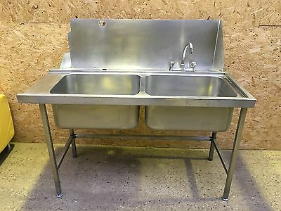 Pass through Double Bowl Commercial Catering Sink Top With Tap