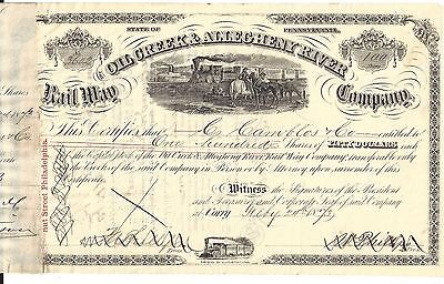 The Oil Creek & Allegheny River Rail Way Company...1873 Stock Certificate