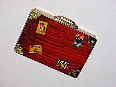 Vintage Novelty SUITCASE Make-up Mirror Compact Travel Stickers New York Paris
