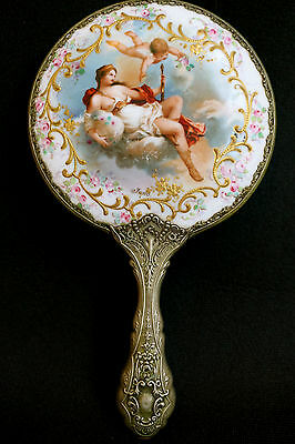 Antique Victorian Goddess Psche & Cupid Porcelain China Hand Mirror Beautiful