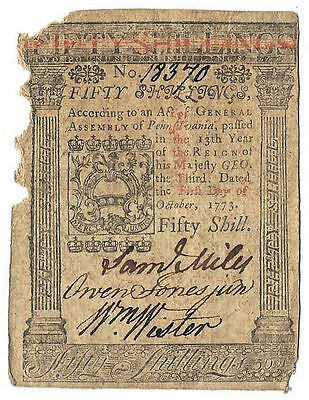 1773 Pennsylvania Colonial Currency Fifty Shillings