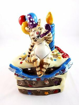 Happy birthday candle holder ceramic cake house cat tealight holder Blue Sky
