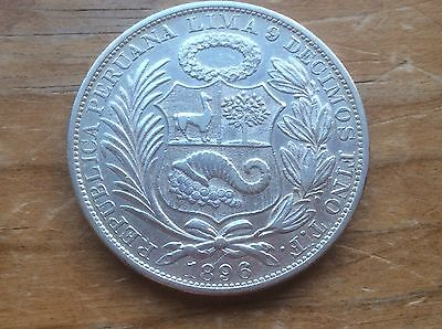 1896 TF Peru one Sol silver crown @@ must see @@