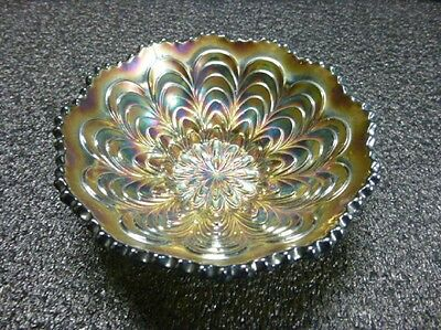 Fenton Peacock Tail Antique Green Carnival Glass Bowl