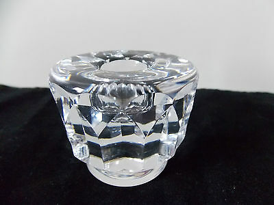 KOSTA Lead Crystal Glass CANDLE HOLDER signed to base cut Sweden Scandinavian