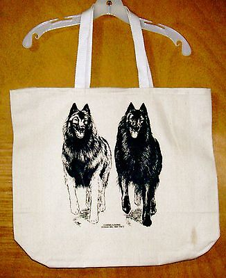 A Pair of BELGIAN SHEEPDOGS  Coming&Going XL 100% natural Cotton Canvas Tote Bag