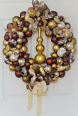"""Glass Ornament 24"""" Christmas Holiday Wreath Hand Crafted Wolves Deer Nature Gold"""