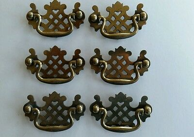 6 Matching  Vintage  Metal Drawer Pulls, Handles 2 1/2 Inch Center To Center