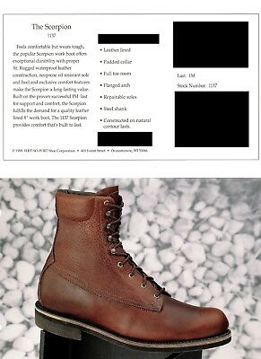 """Men's Leather Foot-So-Port 8"""" Brown Work Boot """"Scorpion 1137"""""""