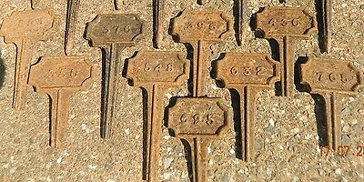 3 x VICTORIAN CAST IRON PAUPERS GRAVE MARKERS