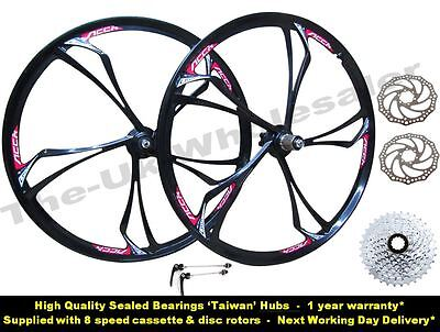 "26"" MTB Mountain Bike Magnesium Alloy 5x Spokes Wheel Set + 8 Speed Cassette"
