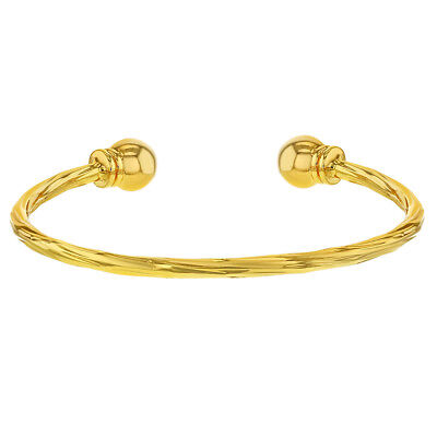 18k Yellow Gold Plated Twisted Cable Cuff Baby Bracelet Newborn