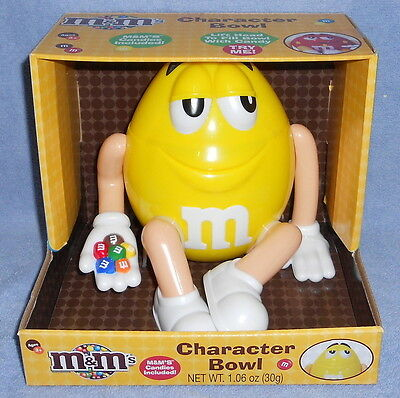 M&M's YELLOW Character Bowl & Candy Dispenser New in Box