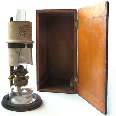 A Fine Antique Oil Microscope Lamp By Horne & Thornthwaite With Original Box