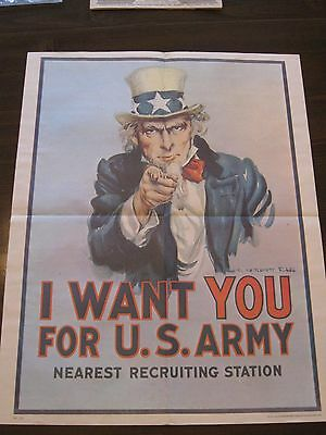 U.S.Army POSTER (I WANT YOU) ( From Recruiting ) Original RARE(Reduced)
