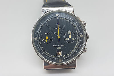 Rare Used Vintage Yema Sous Marine Chronograph Black Dial Date Man's Watch