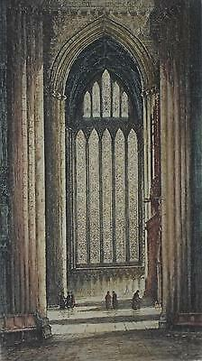 Hand Colourd Engraving Five Sisters Windows York Minster Cathedral Frank Harding