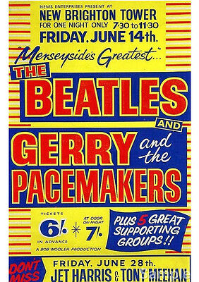 Art print POSTER Beatles Gerry & The Pacemakers Vintage Music Concert