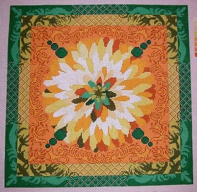 JG Yellow Crysanthemum Floral by Peas of Mind HP Handpainted Needlepoint Canvas