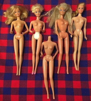Mixed Lot of 5 Vintage Mattel Blonde Barbie Bend Knees Twist N Turn 1966-1990