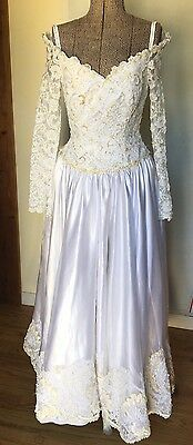 Vtg Wedding Dress Princess Ball Gown White Off Shoulder Long Sleeve Lace Bead