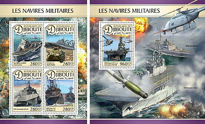 DJIBOUTI 2016 ** Helicopter Hubschrauber Military Ships SET #603ba
