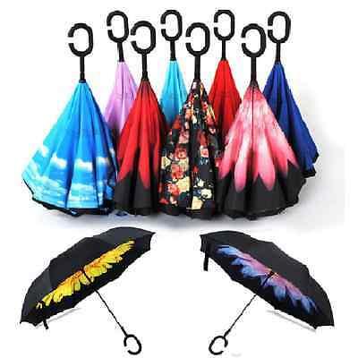 Windproof Double Layer Upside Down Inverted Folding Handle Reverse Umbrella new