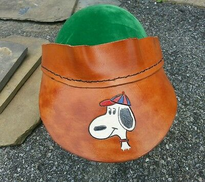 Vtg Snoopy Tooled Leather Visor Cap Peanuts