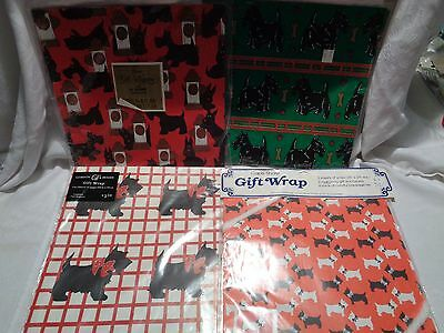 set of 4 flat sealed packages vintage scottie dog wrapping paper all different