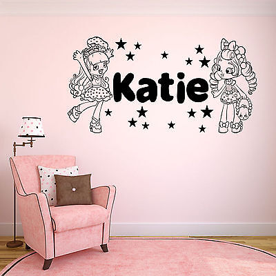 Shopkins Shoppies with Personalised Name Childrens Wall Sticker Decal.