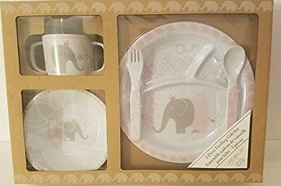 Lady Jayne Elephant Princess 5 Piece Baby Feeding Gift Set BPA Free