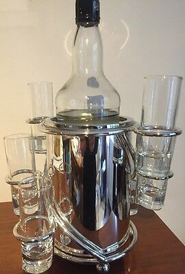 High Quality Silver Bottle Stand With 6 Shots Glasses - Unusual Gift!!!