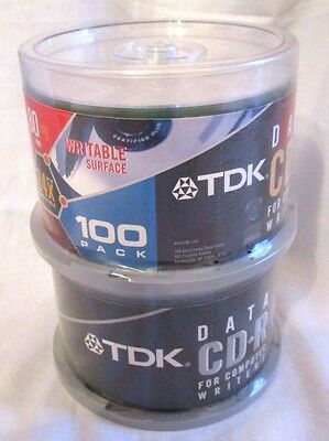 TDK New CD-R 100 Disc Spindle Lot - 80min 700mb 24x Data New Sealed