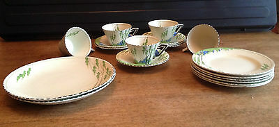 "Rare 1930's Burleigh Ware Zenith Shape ""Bluebell"" Pattern Cups,Saucers,Plates"