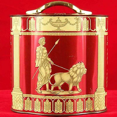 Murray Allen Tin Hellenic Roman Red Can Canister Container Empty England Vintage