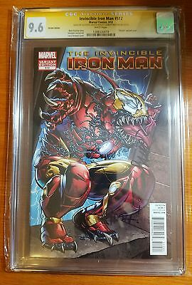 Invincible Iron Man #512 9.6 CGC White Pg Venom Variant SS Only 1 Census! 2x sig