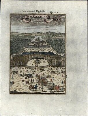 Versailles France birds-eye view 1719 charming antique engraved print hand color