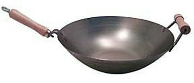 14 Inch Carbon Steel Wok w/ Helper Handle (Flat Bottom) USA Made