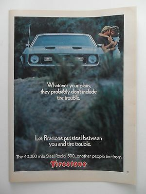 1973 Print Ad Firestone Steel Radial 500 Tires ~ Couple Kissing
