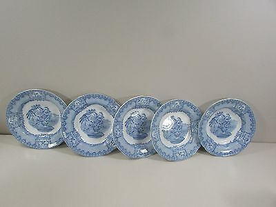 "Set of (5) Blue and White Spode Seasons 7 1/2"" Soup Bowls"