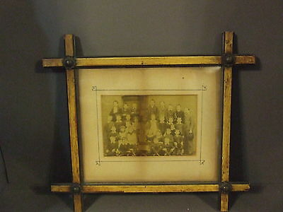 Antique Art Deco Arts And Crafts Wood Metal Frame With Class Picture