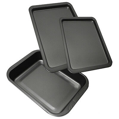 3 Piece Non Stick Baking Roasting Cooking Trays Set Oven Dish Bakeware Bake Pan