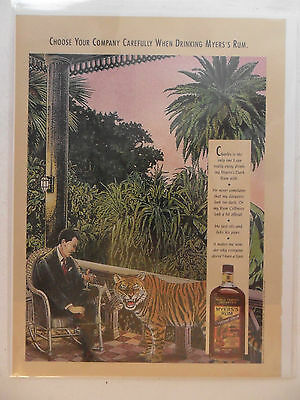 1992 Print Ad Myers's Myers Rum ~ Choose Your Company Carefully Tiger ART
