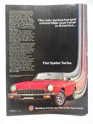 1982 Print Ad Fiat Spider Turbo Sports Car Coupe ~ Turbocharged in America
